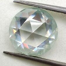 Round Rose Cut Loose Moissanite 4 Ring/Pendant 1.28 Ct 6.71mm Vs1 Off White Blue