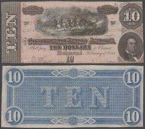 Confederate States of America - Richmond, 10 Dollars, 1864, VF-XF