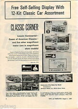 1967 ADVERT Monogram Hobby Kits 1934 Duesberg 1931 Rolls Royce 1937 Cord Models