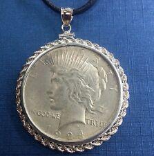 U S Peace Silver Dollar 1924 P Set w/ 925  Rope Motif  Silver Bezel as Pendant