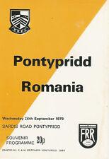 PONTYPRIDD v ROMANIA 26 Sep 1979 RUGBY PROGRAMME