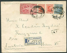 URUGUAY TO AUSTRIA Registered Cover 1931 VF
