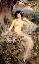 NUDE GIRL FLOWERS SONGS OF THE MORNING PAINTING BY H. RAE PAPER REPRO 10x16