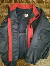 Nike Vintage Nylon Windbreaker 90s Jacket sz L Heavy Blue red 80s full zip vtg