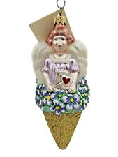 Patricia Breen Angel Nosegay Glitter Cone Bouquet Purple Pansy Holiday Ornament