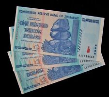 3 x Zimbabwe 100 Trillion dollar banknote-2008/AA / authentic currency