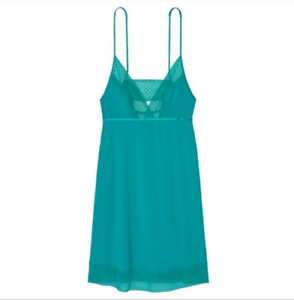 Victorias Secret Supersoft V Neck Lace Trim Nightgown Slip Teal Large