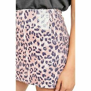 FP One By Free People Pink Cheetah Sequin Mini Skirt Lined Size 14 BNWT RP $128