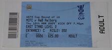 Ticket for collectors EC Manchester City - Aalborg BK 2009 England Denmark