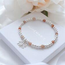 Sterling Silver Sunstone Lotus Flower Beaded Bracelet Crystal Stacking Jewellery