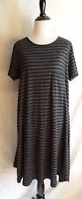 Lularoe Size M Heathered Gray & Black Stripe Carly Pocket T-Shirt Jersey Dress
