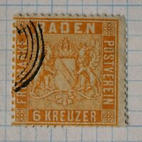 Germany Baden sc#13a Mi#11b 6kr used very Fine light cancel yellow orange $87.50