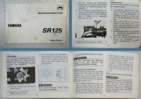 Yamaha SR125 Bedienungsanleitung Betriebsanleitung 1992