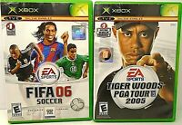 Lot of 2 Microsoft XBOX Games FIFA 06 SOCCER also TIGER WOODS PGA TOUR 2005