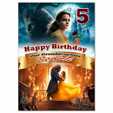 g395; Large Personalised Birthday card; Made with any name; Beauty and the Beast