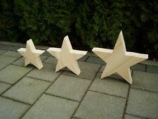 3 Deko Sterne, Holz Stern, Weihnachts Sterne, Fichte massiv, Advent