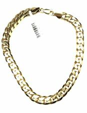 9ct Yellow Gold Bracelet Solid Bevilled Edge Curb Link Not Plated. 17.9gms
