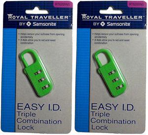 Samsonite Royal Traveler Triple Combination Suitcase Luggage Lock (2 Pack) NEW