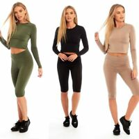 New Women Lady Crop Top And Legging Bicycle Shorts Set Co ord Viscose Gym Sports