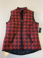 NWT Karen Scott Sport Plaid Vest Women's Size S Red Black $46 NEW