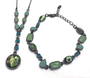 Dark Silver Tone Necklace & Bracelet Set - Green Blue Shell - Costume Jewellery
