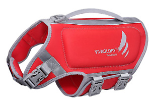 VIVAGLORY Medium Dog Life Vest, Skin-Friendly Neoprene Life Jacket for Dogs RED