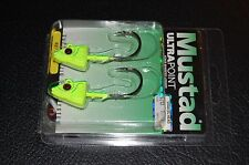 2 Pack Mustad SD824-1CH Elite Shad Darter Jig Heads 1 oz 5/0 Hook Chartreuse UV