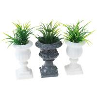 1:12 Dollhouse Miniature Simulated Roman Column Potted Plant Garden Ornament T^r
