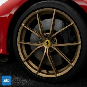 "NEW GENUINE FERRARI 488 F8 PISTA 20"" MATT GOLD SPIDER FORGED ALLOYS WHEELS RIMS"