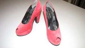 Gorgeous French Robert Clergerie red suede heels, new in box, size 40/8.5