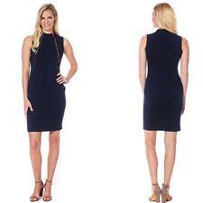 Calvin Klein Navy Blue Asymmetrical Zipper Sheath Dress Sleeveless Size 12