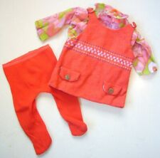 """Doll's vintage 1960s fashion outfit - orange dress blouse tights fit 20-22"""" doll"""