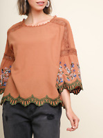 Umgee   Clay Floral Embroidered Bell Sleeve Keyhole Top with Crochet Details NWT
