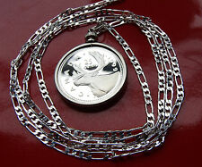 """Regal Canadian Caribou Sterling Siver PROOF Pendant on a 30"""" 925 Silver Chain"""