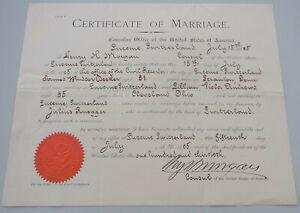 Cerificate of Marriage LUZERN 1905: US-Konsul MORGAN / Ehe DECKER -- ANDREWS
