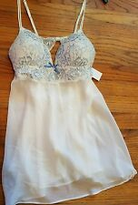 NEW Linea Donatella Babydoll Chemise Night Gown Thong 2pc Set Blue Ivory Large