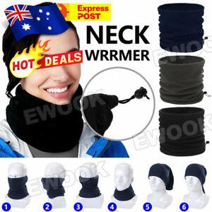 Winter Warm Fleece Snood Scarf Neck Warmer Beanie Hat Ski Balaclava Men Women AU