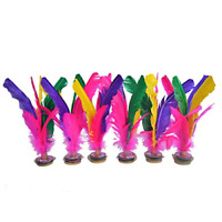 Baitaihem 6 Pack Kick Shuttlecock Chinese Jianzi Colorful Feather Foot Sports