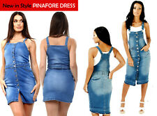 NEW BUTTON FRONT WOMEN'S SEXY PINAFORE DRESS DUNGAREES DRESS DENIM 6 TO 18