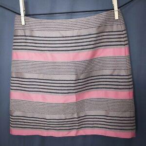 Ann Taylor LOFT Womens Skirt 0P 0 Petite Tan Pink Striped Mini Straight Lined
