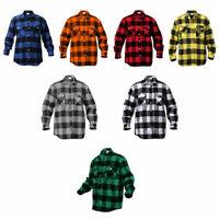 New Mens Rothco Heavyweight Brawny Buffalo Plaid Flannel Shirt Long Sleeve