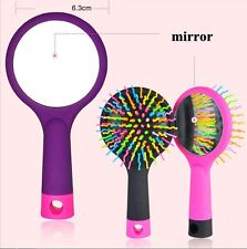 Multi-function Girl Rainbow Comb Volume Massage Brush Detangler Hairbrush Mirror