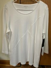 NEW White 3/4 Sleeve Cotton Top Kim Rogers Womens Large