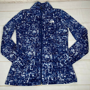 The North Face Womens Jacket Small Blue White Full Zip Long Sleeve Polyester