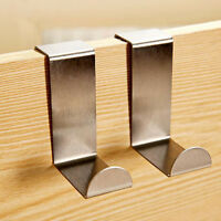 2x Over Door Hook Stainless Kitchen Cabinet Clothes Hanger Organizer Holder hcuk