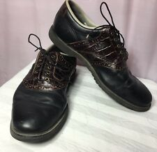 Footjoy Mens 10M Golf #53586 Leather Faux Croc Embossed My Joys Not Cleats