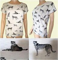 New Ex Per Una Oatmeal Cat Print Embellished Jersey Summer Top Size 8 - 22