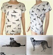 New Ex Per Una Oatmeal Cat Print Embellished Jersey Summer Top Size 8 - 22