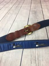 Men's 34 Fabric Belt With Leather Belt Buckle Navy Blue W/ Loons Essex