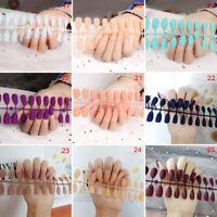 24Pcs Fashion False Nails Acrylic Gel Full French Fake Nails  Art   Tools TOCABB
